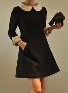 White Silk Petter-pan Collar Black Virgin Wool 3/4 sleeves A-line dress by yystudio.