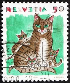 1990 Switzerland Cats Postage Stamp by Retro Graphics Postage Stamp Art, Cat Cards, Fauna, My Stamp, Stamp Collecting, Mail Art, Oeuvre D'art, Crazy Cats, Les Oeuvres