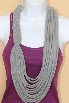 Gray Braided Floral Necklace Scarf, T-shirt Scarf, Braided Scarf, Infinity Scarf, Necklace Scarf, Up-cycle Scarf, Up-cycle Infinity Scarf. $20.00, via Etsy.