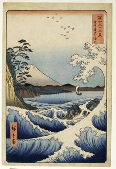 Tattoo Ideas & Inspiration - Japanese Art | Ichiryusai Hiroshige - Waves off the Satta Pass in Suruga Province, 1858