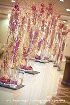 Orchids & Willow Branches in Tall Glass Cylindrical Vase