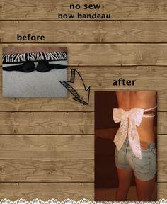 DIY wardrobe make over. No sew bow bandeau. Sewing Hacks, Sewing Projects, Diy Projects, No Sew Bow, Bow Bandeau, Backless Shirt, Diy Wardrobe, Wardrobe Makeover, Diy Bra