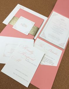 Coral and Gold Pocket Envelope Wedding Invite