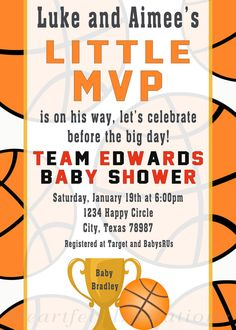 Basketball Baby Shower Invitations Unique Mvp Basketball Baby Shower Invitation by Heartfeltinvitations Star Baby Showers, Boy Baby Shower Themes, Baby Boy Shower, Printable Baby Shower Invitations, Baby Shower Printables, Invitation Ideas, Invitation Cards, Basketball Baby Shower, Mvp Basketball