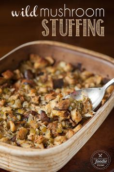 Thanksgiving wouldn't be complete without my favorite side dish: moist and flavorful Wild Mushroom Stuffing made with rosemary bread. {Self Proclaimed Foodie} recipes backen backen rezepte bread bread bread Thanksgiving Recipes, Fall Recipes, Holiday Recipes, Thanksgiving 2020, Holiday Meals, Holiday Fun, Stuffing Recipes, Turkey Recipes, Side Dish Recipes