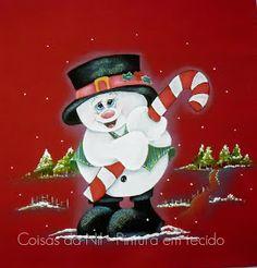 pano de copa vermelho com pintura de natal boneco de neve com bengala