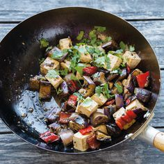 Consider this eggplant tofu stir-fry recipe when you're looking for a quick, protein-packed vegetarian dish. Serve it over whole-grain brown rice. Eggplant Tofu Recipe, Fried Eggplant Recipes, Eggplant Stir Fry, Healthy Eggplant, Stir Fry Recipes, Tofu Recipes, Vegetarian Recipes, Vegetarian Dish, Healthy Recipes