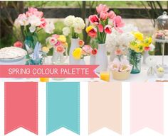 Spring Wedding Colour Palettes - almost monotone, but not quite ...
