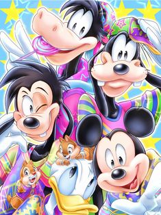 Colorful   by Natsu-Nori @ DeviantART.com // #disney; goofy and max; chip and dale; mickey mouse; donald duck; horace horsecollar