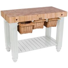 john boos solid maple gathering block iii with 3 pullout wicker baskets