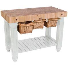 John Boos CUGBBL Black Double Basket Slideout X Cutting - Boos gathering block ii 36x24 butcher block table 2 wicker basket