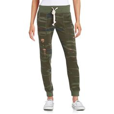 Vintage Havana Distressed  Sweatpants ($62) ❤ liked on Polyvore featuring activewear, activewear pants, camo, camouflage sweat pants, vintage havana, elastic cuff sweatpants, camo sweatpants и sweat pants