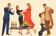 Guests Drop By - detail from 1955 Falstaff Beer ad.