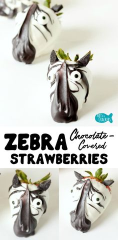 Easy Chocolate Covered Strawberry Zebras Animal lovers and safari lovers alike will adore these cute Chocolate-Covered Strawberry Zebras as a special treat, snack, or party food. Cute Snacks, Party Snacks, Cute Food, Snacks Ideas, Fruit Party, Funny Food, Chocolate Covered Strawberries, Chocolate Dipped, Homemade Chocolate