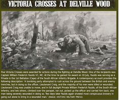 """Somme, 1916, Delville Wood. Cpt W F Faulds gained the Victorian Cross when he was private in the 1st Battalion of the South African Inf. Brig. """"A bombing party attempted to rush across the ground between British and enemy trenches but in doing so the officer and the majority of men were killed or wounded. The officer was unable to move and Pt Faulds climbed over the parapet, ran out, picked up the officer and carried him back. Two days later he did the same."""" Image Hist. Mil. Press George Cross, Black Watches, Flanders Field, The Third Reich, World War One, Sands, Wwii, British, Military"""