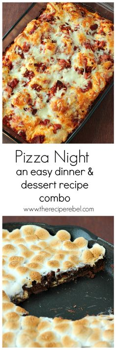 Pizza Night: an easy dinner and dessert combo! With TWO recipes, including Impossible Easy Meat Lovers Pizza Bake and S'mores Skillet Pizza Cookie! www.thereciperebel.com