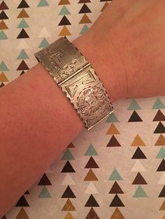 "Vintage Sterling ""Monroy"" (Eagle 186 Mark) Aztec Style Square Bracelet  | eBay"