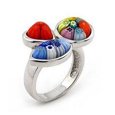 Multi-Color Shape Murano Glass Millefiori Sterling Silver Ring Millefiori. $61.91
