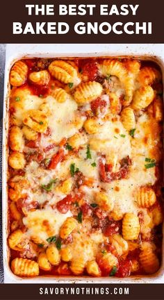 This Bolognese Gnocchi Bake is my number one emergency meal. Once the beef is browned, all that's left to do is stirring everything together in the casserole dish, then bake. This is such a quick prep, kid-friendly meal - perfect for those extra busy nights! | #casserole #casserolerecipe #dinner #easydinner #kidfriendlyfood #gnocchi #italianfood #familydinner Baked Gnocchi, Gnocchi Recipes, Gnocchi Dishes, Italian Recipes, Beef Recipes, Cooking Recipes, Easy Cooking, Easy Recipes, Cooking Tips