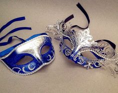 Navy Blue masquerade mask pair Luxury filigree by Crafty4Party