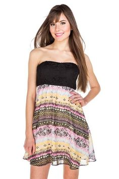 Lace Top Aztec Print Dress