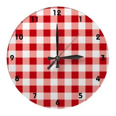 Red Gingham Clock