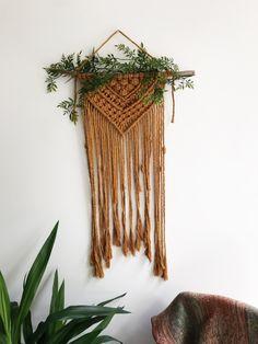 Made with Niroma Studio Mustard cotton string. Macrame Wall Hanging Diy, Weaving Wall Hanging, Handmade Wall Hanging, Macrame Plant Hangers, Macrame Art, Macrame Design, Weaving Projects, Macrame Projects, Weaving Patterns