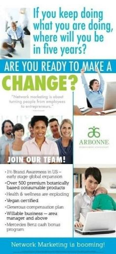 Take control of your future and have FUN doing it!! Arbonne's botanically based products are Pure, Safe and Beneficial making it easy to believe in what you are sharing with others. The best product however, is the Business Opportunity. Contact me for more information   redonnaray@myarbonne.com