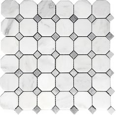 "Carrara (Carrera) Venato 2"" Octagon Bardiglio Dot Honed Mosaic Tile (Free Shipping)"