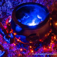"A mister creates light and ""smoke"" for a witch cauldron 