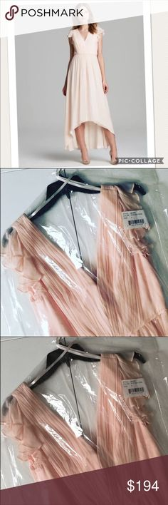 """BRAND NEW Jill Stuart Sheer Chiffon Dress Brand: Jill Stuart  Condition: Brand new with attached tags.  Size: 4  Color: Powder Pink  Style: 461096  Pattern: Solid  MSRP: $388  Measurements: 59"""" shoulder to back hem, 47"""" shoulder to front hem, 13.5"""" across waist, 17"""" armpit to armpit. All measurements done with dress laying flat on table.  Material: 100% polyester  Care: Dry clean only. Jill Stuart Dresses"""