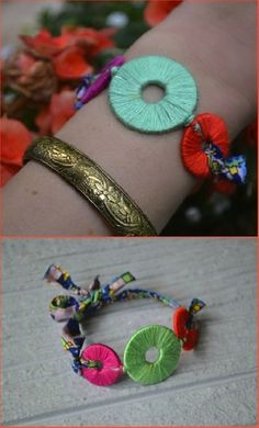 another example of washer jewelry with embroidery thread, made into a bracelet! - Click image to find more diy & crafts Pinterest pins