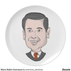 Marco Rubio Caricature Plate with a caricature illustration showing Marco Rubio, an American senator, politician and Republican 2016 presidential candidate standing pointing up front done in cartoon style. #americanelections #elections #vote2016 #election2016