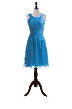 Chic Short Chiffon Dress With Halter Neckline