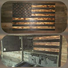 This American Flag Concealed Gun Case measures 40x26x4. The larger opening is 38.5 x 10.75 The smaller opening is 12.5x15.75The hidden compartments are secured with Safety 1st magnetic locks. The compartments come with 2.25 thick customizable layered gun foam that you will cut to personalize your case. Mounting hardware, magnetic key, foam customizing tool and instructions are included. Weapons shown not included.  5-7 week production time currently  The In Stock # listed is a requirement by…