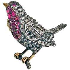 1890s English Antique Ruby Diamond Gold Robin Redbreast Brooch Pin | From a unique collection of vintage brooches at https://www.1stdibs.com/jewelry/brooches/brooches/