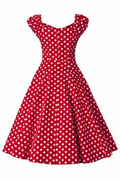 Collectif Clothing - 50s Dolores Doll dress Red White polka swing dress