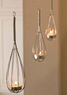 """Fun kitchen theme bridal shower idea:. Try using wire kitchen whisks as a tea light holder.    """"Whisked Away"""" Heart Whisk  for this look as well as practical kitchen themed favors for your guests"""