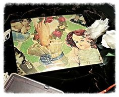 Nostalgic Puzzle with scrap-pictures of angels,dolls and cats