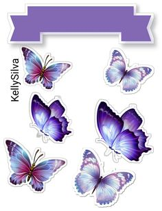 Butterfly Cakes, Purple Butterfly, Baby Girl Hair Clips, Cute Couple Art, Butterfly Drawing, Unicorn Cake Topper, Aesthetic Stickers, Cute Icons, Stencil Designs