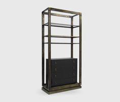 Hoplon bookcase [brass and leather] by Brabbu Zen Furniture, Chinese Furniture, Cabinet Furniture, Contemporary Furniture, Furniture Design, Drawer Shelves, Bookcase Shelves, Storage Cabinets, Shelving