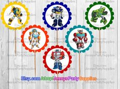12PCS Rescue Bots Toppers Rescue Bots Party by JennysPartySupplies …