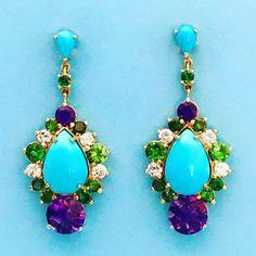 @jmeierfinejewelry. Sleeping Beauty Turquoise drops with Amethyst, Diamond and Tsavorites. www.johnmeierfinejewelry.com