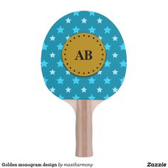 Golden monogram design Ping-Pong paddle