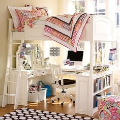 Pottery Barn Loft Bed -- Minus the Vanity for Me Please by JennyPenny2010, via Flickr