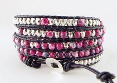 Wikkelarmbanden - Trendy 5 wikkel wrap armband met (half)edelsteen - Een uniek product van Unycq op DaWanda