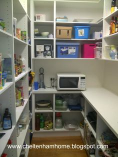 Walk in pantry with counter top for appliances and shelved unites for food AND dishes / serving accessories