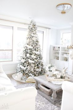 Welcome back to our living room where I'm sharing our Winter Wonderland Flocked Christmas Tree and Mantel with you today! Elegant Christmas, Pink Christmas, Winter Christmas, Christmas Home, Merry Christmas, White Christmas Trees, Xmas Trees, Christmas Presents, Christmas Tablescapes