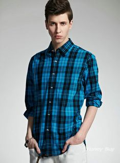 Personalized Plaid Design Long Sleeve Stylish Shirt for Mens Store
