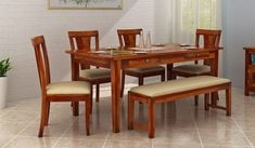 Buy Mcbeth Storage 6 Seater Dining Table Set With Bench (Honey Finish) Online in India - Wooden Street 6 Seater Dining Table, Dining Room Table, Dining Bench, Dining Chairs, Dinning Table Design, Dinning Set, Dining Room Furniture, Home Furniture, Wooden Dining Set